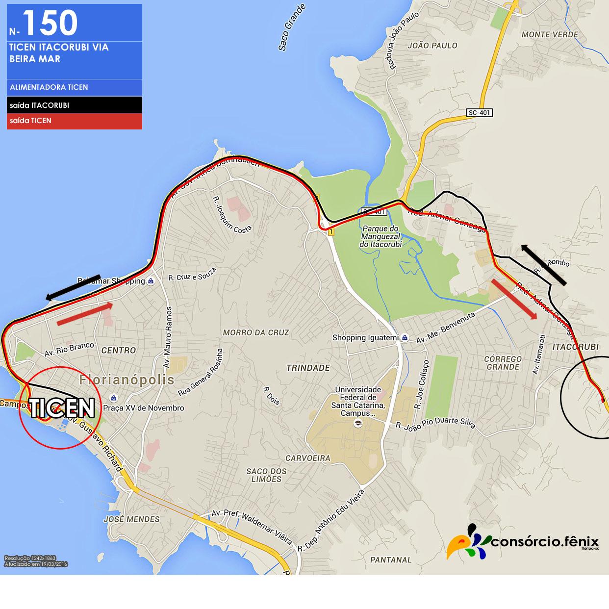 Horario de Onibus TICEN - Itacorubi via Beira Mar